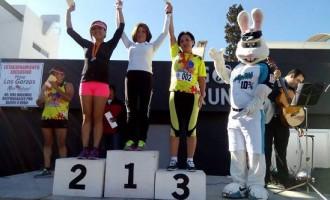 Las mejores corredoras generales de la rama femenil: Elida Jasso, Diana García Rojas y Guadalupe Ledezma